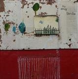 Fly away birdie 2 by Philippa Sibert, Painting, Mixed Media